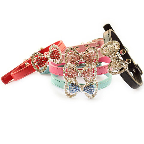Rhinestone Bow Dog Collar