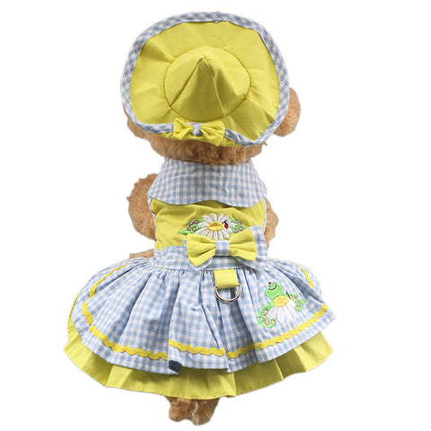 as shown / XS Sunshine Yellow Dog Dress with Hat & Panties + FREE leash