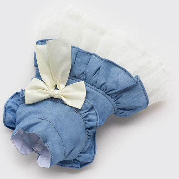 Blue / XS Butterfly Bow Denim Dog Dress