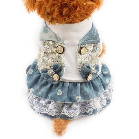Blue / XXS Blue Breeze Frilly Dog Dress