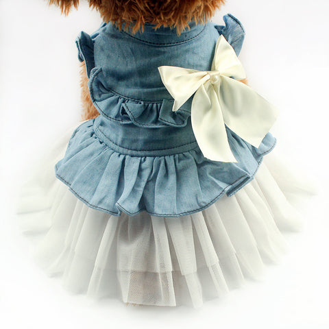 Butterfly Bow Denim Dog Dress