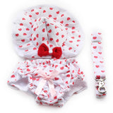 Red Love Hearts Dog Dress with Hat Panties & FREE Leash