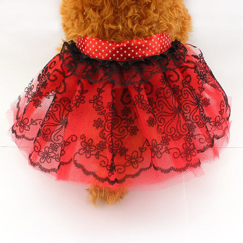Red / XS Red Laced Dog Tutu