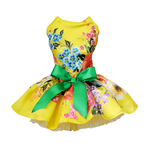 XS Yellow Garden Dog Dress