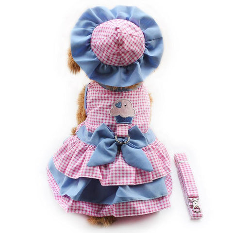 Tea Party Pink Dog Dress with Hat Panties & FREE Leash