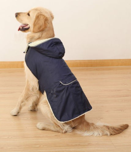 Blue / S Waterproof Fleece-Lined Outdoor Dog Vest (with Detachable Hood)