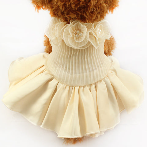 beige / XS Ivory Ruffle Wedding Dog Dress