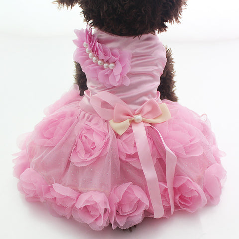 Pink / S Rose Wedding Dog Dress