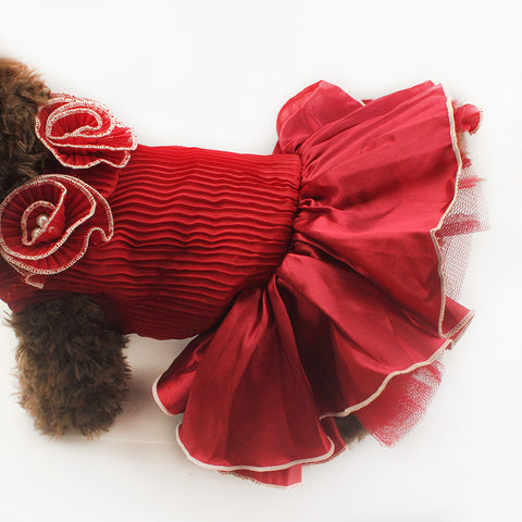 Red Rose Wedding Dog Dress