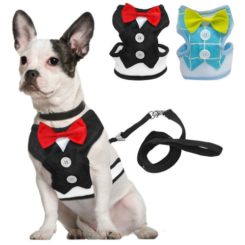 Tuxedo Dog Harness With Bow & Leash