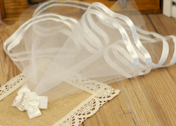 White Silk Dog Wedding Veil