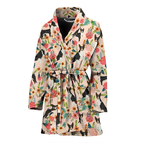 Basenji Dog Floral Print Women's Bath Robe-Free Shipping