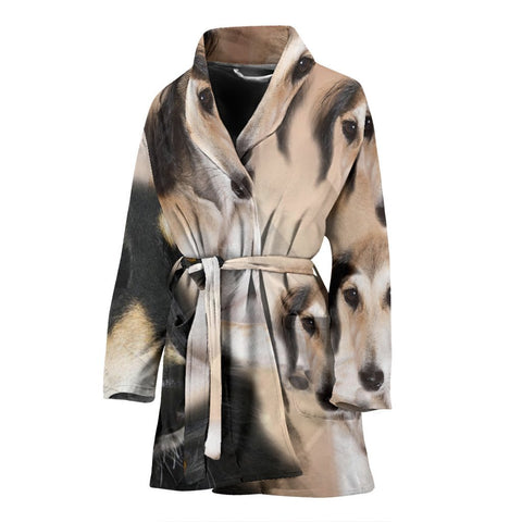 Black Saluki Dog Print Women's Bath Robe-Free Shipping