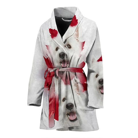 West Highland White Terrier Print Women's Bath Robe-Free Shipping