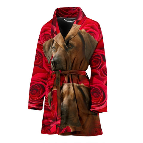 Rhodesian Ridgeback On Rose Print Women's Bath Robe-Free Shipping