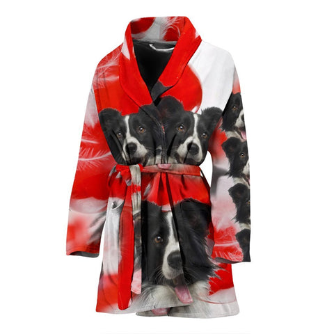 Border Collie On White Print Women's Bath Robe-Free Shipping