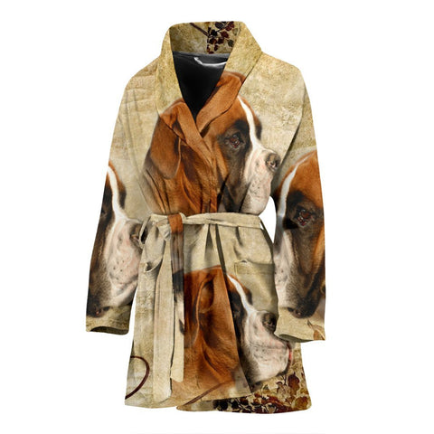 Lovely Boxer Print Women's Bath Robe-Free Shipping