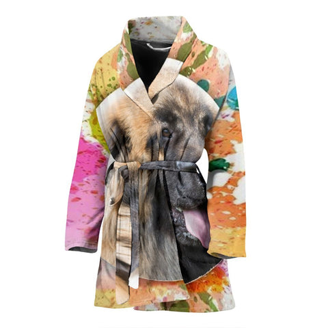Leonberger Dog Print Women's Bath Robe-Free Shipping