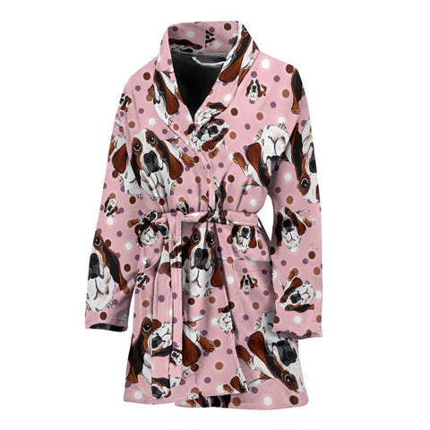 Basset Hound Dog In Lots Print Women's Bath Robe-Free Shipping