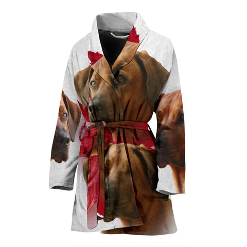 Rhodesian Ridgeback On White Print Women's Bath Robe-Free Shipping