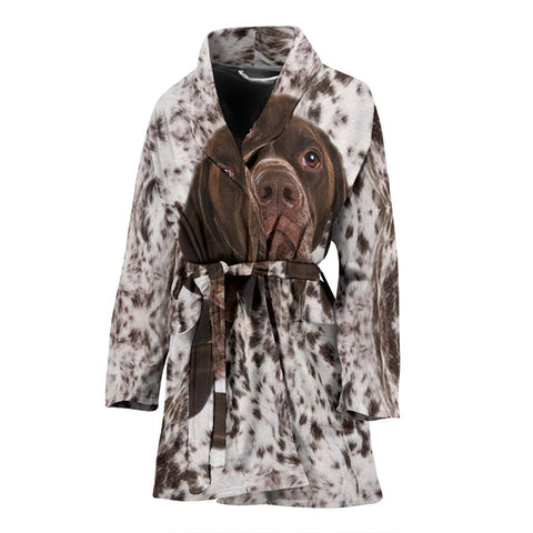 Amazing German Shorthaired Pointer Face Print Women's Bath Robe-Free Shipping