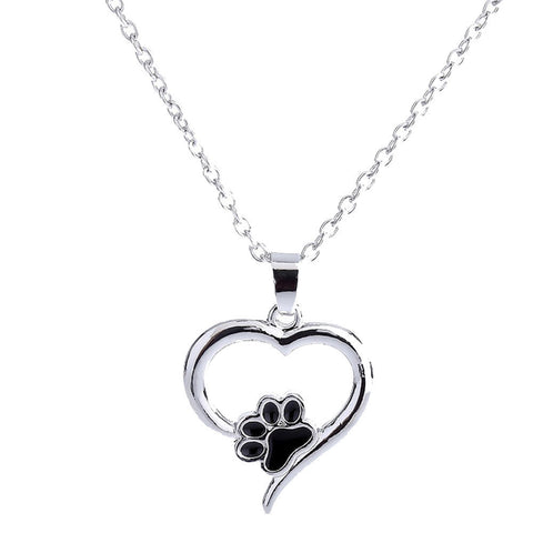 Crystal rhinestone paw necklace