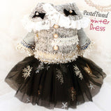 Sequin dog dress with snowflakes and option tweed vest with lace and bows.