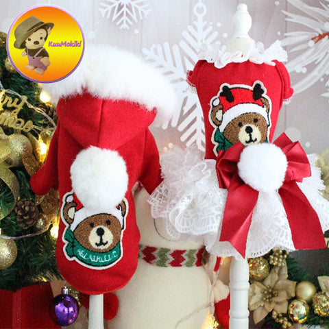 Hand Made Dog Couple suit pet dress dresses Dog hoodies hoodie Pet Clothes dogs red Christmas clothing Pet skirt skirts