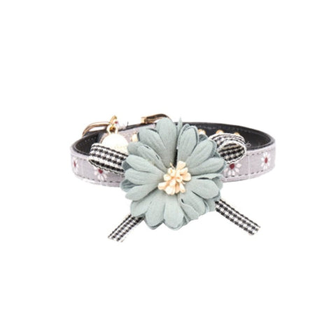 Princess Leather collar with rose flower accent