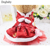 D07 Classic Pet Dog Dress Tang Costume Clothes Winter Warm New Year Puppy dog Cats Red color Skirt Dresses for Teddy Yorkshire