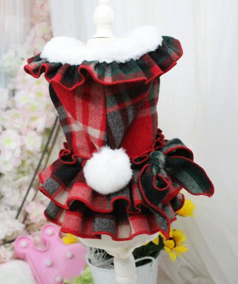 OnnPnnQ New Christmas Style Warm Dog Winter Dress For Small Dog Clothes Thicken Cotton Pet Clothing Luxury Puppy Princess Skirt