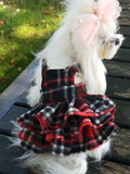 Hand made plaid dog/pet dress with hood and ruffles