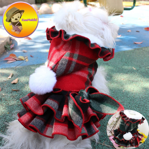 Hand made Scotland style doggy dress with ruffles and hood.