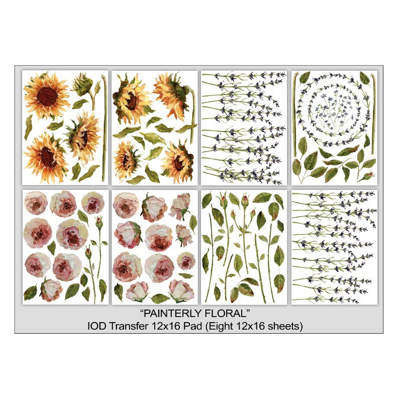 Painterly Floral IOD Image Transfer (12″X16 Pad - 8 Sheets)