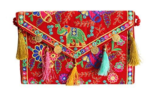Vibrant Day Clutch Handmade Cotton Embroidery Vintage Tribal Banjara Clutch Yellow Bags Purse