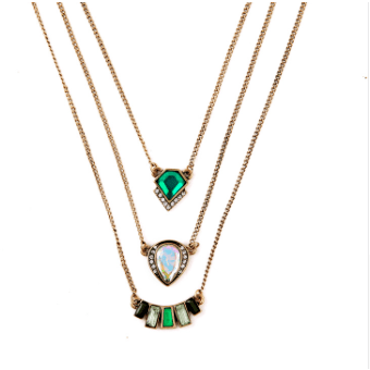 Trifecta Necklace - Green - Necklaces