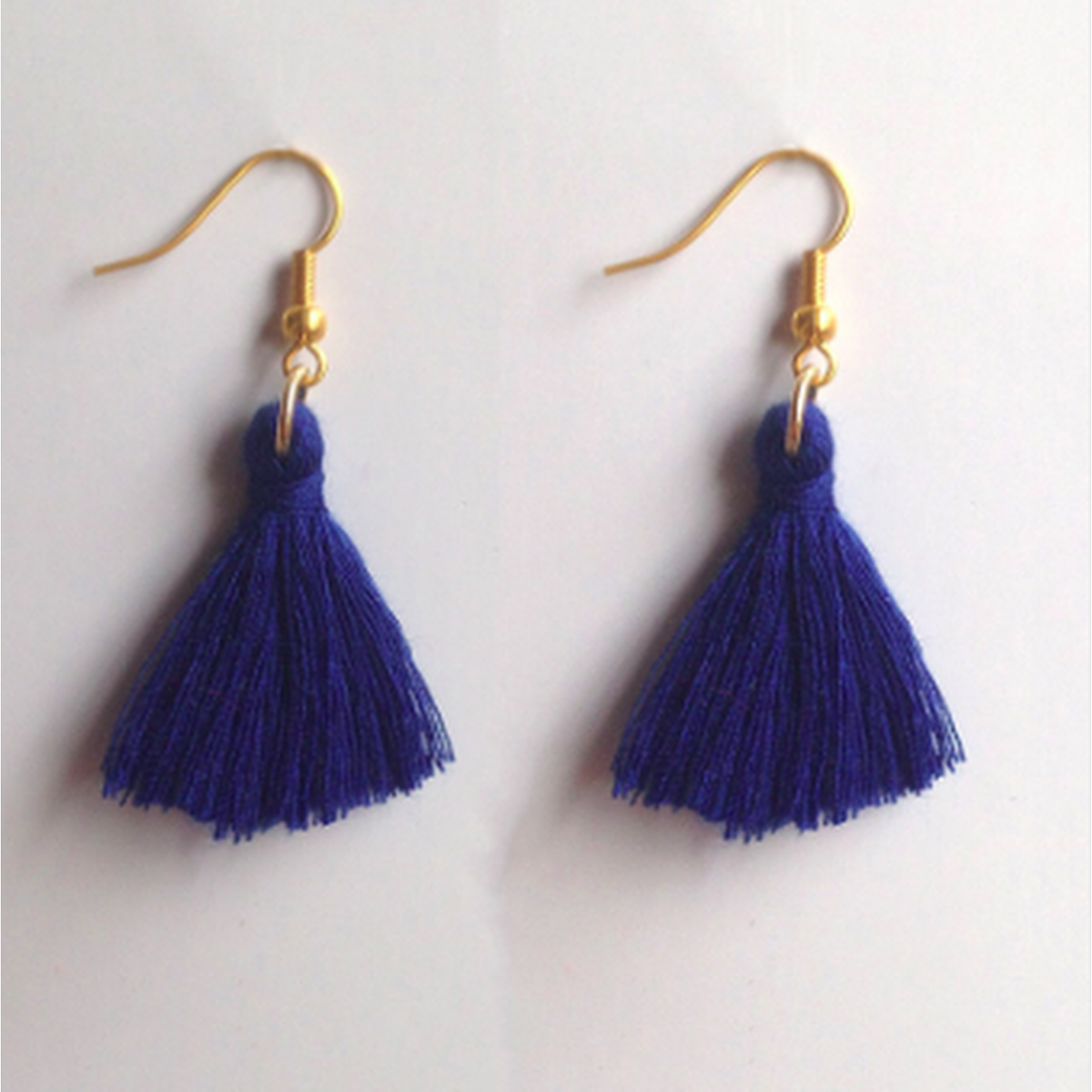 Drop Top Earrings - Navy Blue
