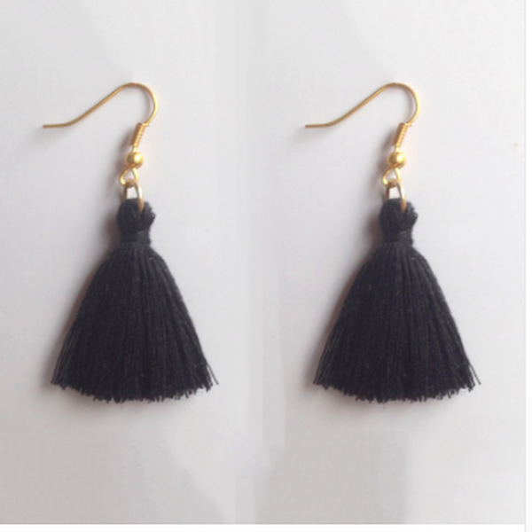 Drop Top Earrings - Black