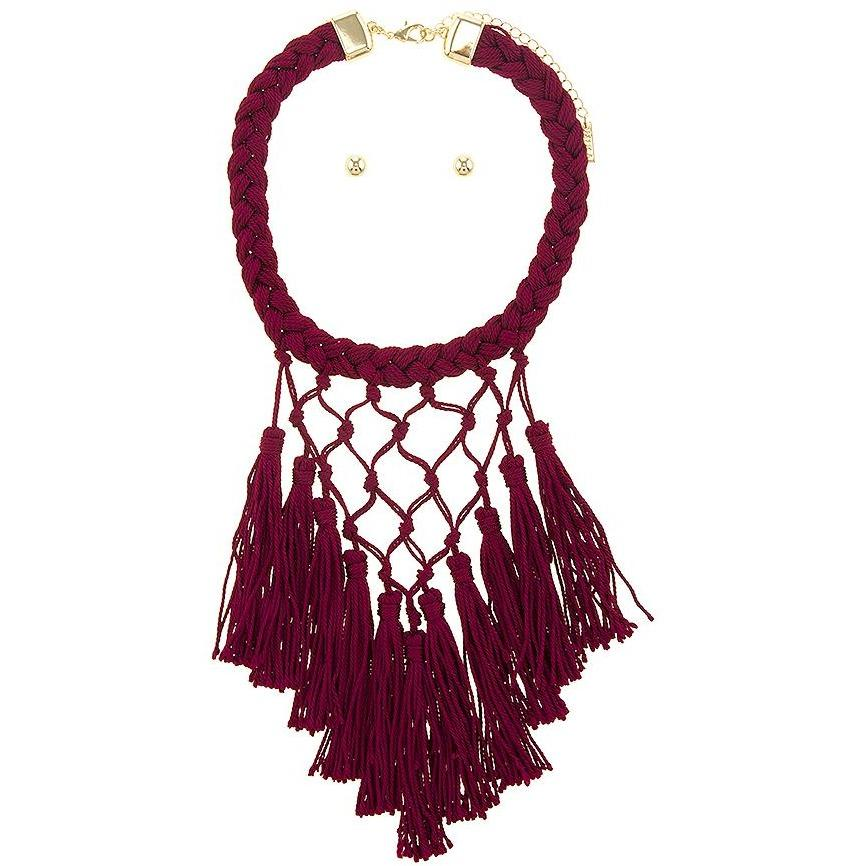 The Regal Dark Cherry Tassel Necklace - Necklaces