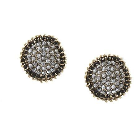 Wavy Disk Studs - Black And White - Earrings