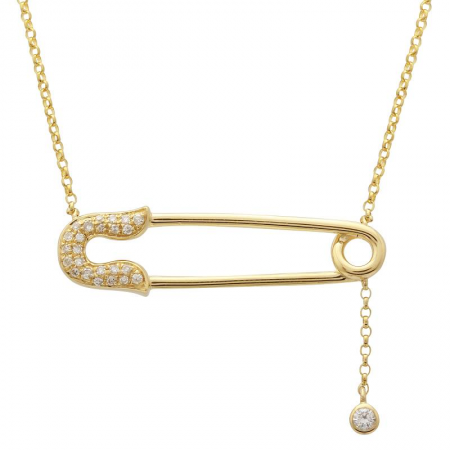 mage of a yellow gold safety pin necklace with pavé diamonds around the clasp