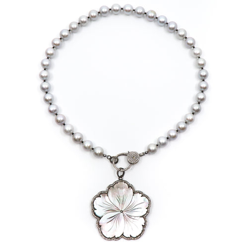 Image of the light grey pearl Moonlight Sonata pearl necklace with diamond clasp with a flower pendant that is not included.