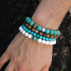 White Turquoise with Natural Turquoise Bead - Hayley Style