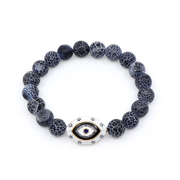 Agate with Large Enamel and Diamond Evil Eye