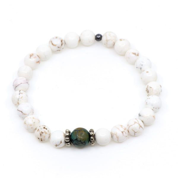White Turquoise with Natural Turquoise Bead