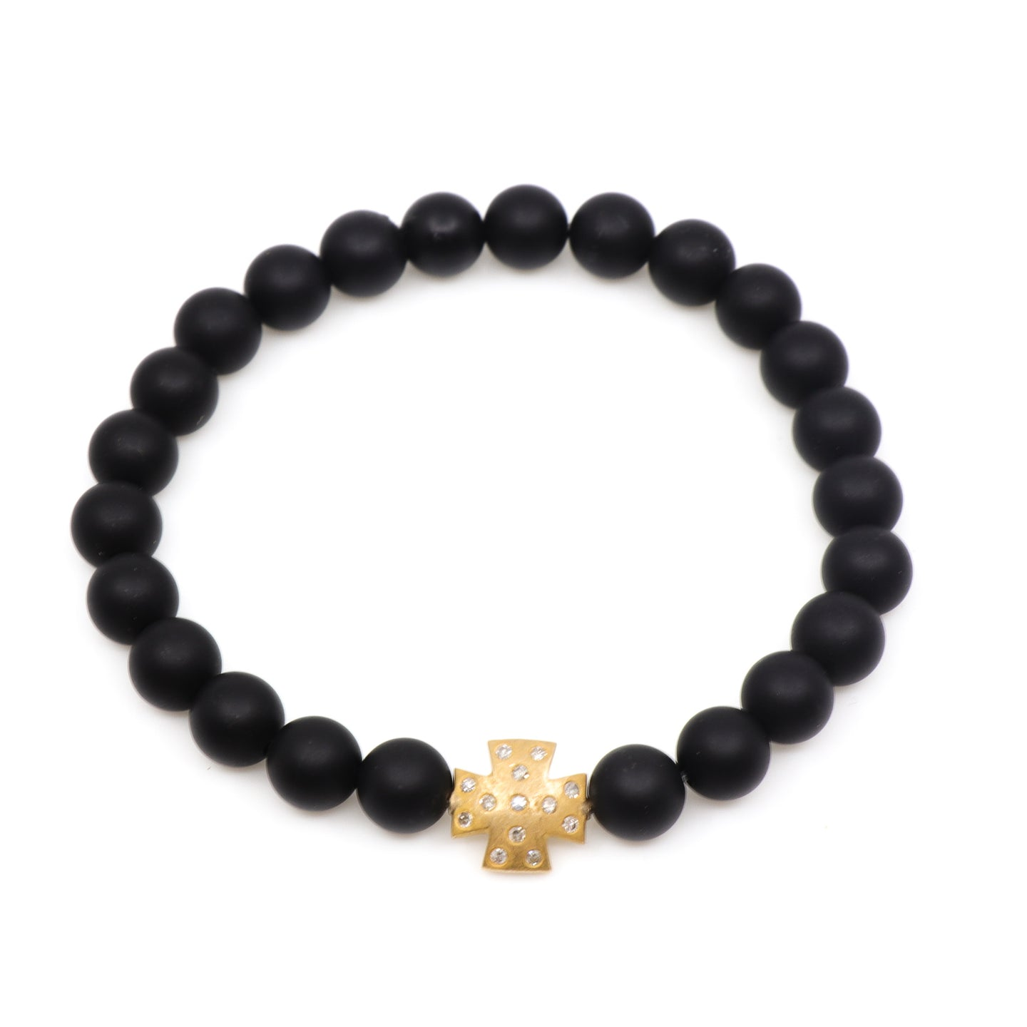 Matte Black Onyx with 14k Gold Diamond Cross - Hayley Style
