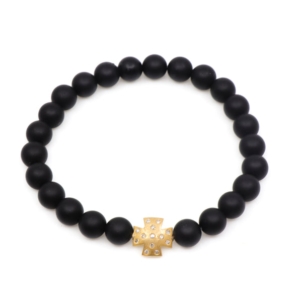 Matte Black Onyx with 14k Gold Diamond Cross