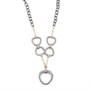 Image of the Two-Tone Horsebit Necklace from Hayley Style featuring sterling silver and 14K yellow gold and pavé diamonds.