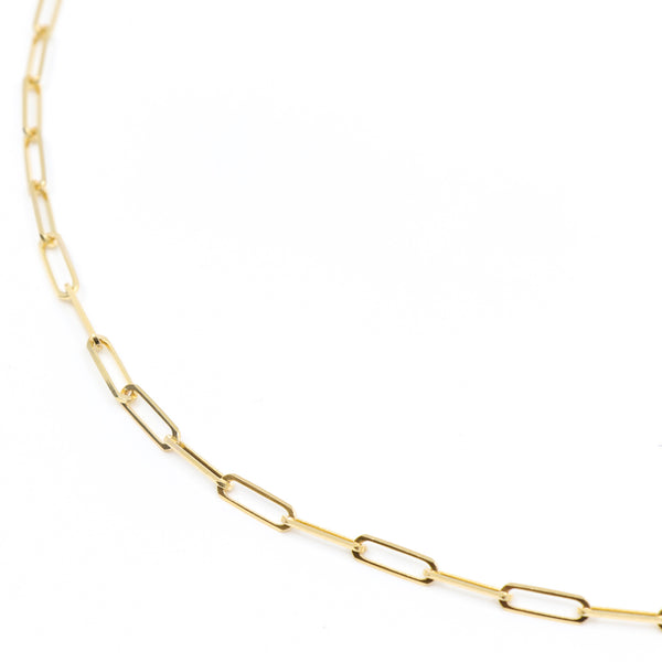 Image of a medium-sized gold paper clip chain.