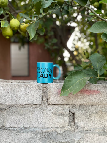 Boss Lady metallic blue mug